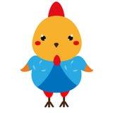 Pollo sveglio Carattere del gallo di kawaii del fumetto Illustrazione di vettore per i bambini ed il modo dei bambini royalty illustrazione gratis