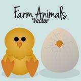 Pollo sveglio ed uovo del fumetto di vettore isolati Fotografia Stock