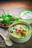 Pollo tailandés del curry del verde de la comida Imagenes de archivo