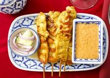 Pollo tailandese Satay Fotografie Stock
