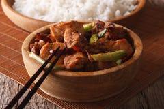 Pollo tradicional de Kung Pao en un primer del cuenco horizontal Fotografía de archivo