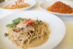 Pollo verde del curry degli spaghetti Immagini Stock