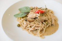 Pollo verde del curry degli spaghetti Immagine Stock Libera da Diritti