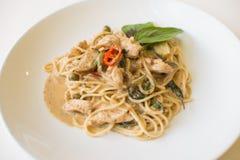 Pollo verde del curry degli spaghetti Fotografia Stock