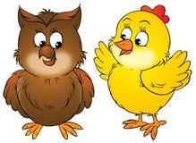 Pollo y buho Fotos de archivo
