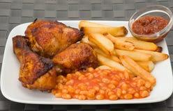 Pollo y fritadas Imagen de archivo libre de regalías