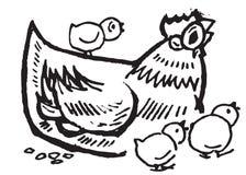 Pollo y gallinas stock de ilustración