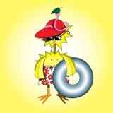 Pollo y gusano en la playa ilustración del vector