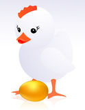 Pollo y huevo de oro Imagenes de archivo
