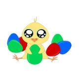 Pollo y huevos de la historieta ilustración del vector