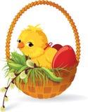 Pollo y huevos en cesta stock de ilustración