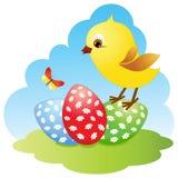 Pollo y huevos en el prado. ilustración del vector
