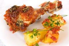 Pollo y patatas Foto de archivo libre de regalías