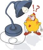 Pollo y una historieta de la lámpara de escritorio Foto de archivo libre de regalías