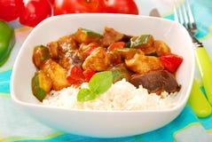 Pollo y vehículos en salsa de curry con arroz Imágenes de archivo libres de regalías