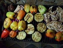 Pollo y verduras asados a la parrilla de la barbacoa Fotografía de archivo libre de regalías
