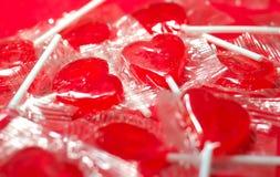 Polloni del cuore della caramella Fotografie Stock Libere da Diritti