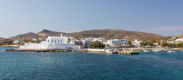 Pollonia村庄,芦粟海岛, Cyclades,希腊 库存照片