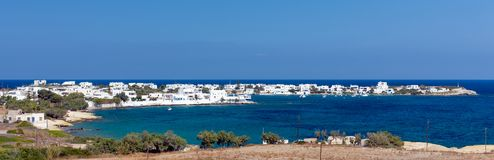 Panoramic view of Pollonia village, Milos island, Cyclades, Greece. Pollonia is a picturesque fishing village on the northeast tip of Milos Island, Cyclades royalty free stock photography