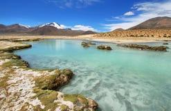 Polloquere温泉城在撒拉族de Surire国家公园 免版税库存图片