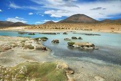 Polloquere Hot Springs i den Salar de Surire nationalparken Arkivbilder