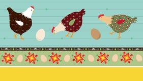 Pollos del arte popular Fotografía de archivo libre de regalías