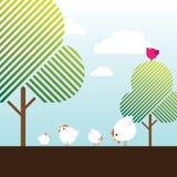 Pollos libres de la granja del rango, pájaro magenta y árboles Fotos de archivo