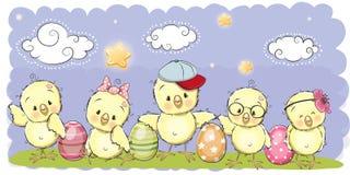 Pollos lindos de la historieta