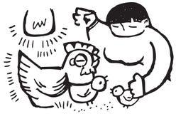 Pollos que introducen de la señora Imagen de archivo libre de regalías