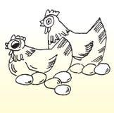 Pollos y línea bosquejo de los huevos Foto de archivo