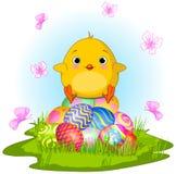 Polluelo amarillo de Pascua stock de ilustración