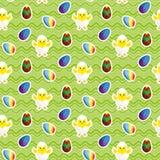 Polluelo en cáscara de huevo Huevos de Pascua Vector inconsútil ilustración del vector