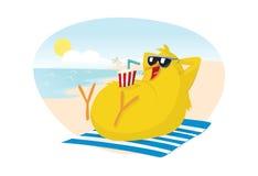 Polluelo en la playa stock de ilustración