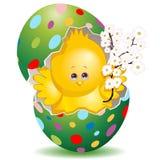 Polluelo lindo de Pascua en sus flores coloridas de la primavera de la tenencia del huevo ilustración del vector