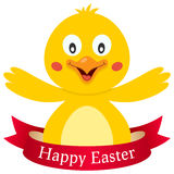 Polluelo lindo feliz de Pascua con la cinta Fotografía de archivo