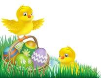 Polluelos de Pascua y cesta del huevo libre illustration