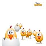 Polluelos divertidos de los huevos de Pascua, ejemplo del fondo, pascua feliz