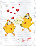 Polluelos en historieta del amor ilustración del vector
