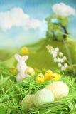 Polluelos y huevos de Pascua Fotografía de archivo libre de regalías