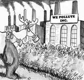 Pollute. Cartoon about animals having to wear gas masks because of heavy pollution Royalty Free Stock Photography