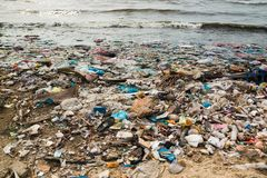 Polluted beach in a fishing village in Vietnam, environmental pollution concept. Asia stock image