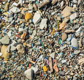 Polluted beach Stock Images
