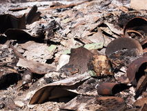 Polluted burning ash from industrial and household waste Royalty Free Stock Photos