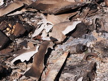 Polluted burning ash from industrial and household waste Royalty Free Stock Photo