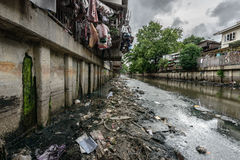 Polluted canal in Bangkok Royalty Free Stock Image