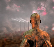 Polluted City. High Resolution Polluted City and electronic man Royalty Free Stock Photo