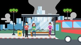 Polluted city with people on bus stop and bus moving with smoky environment