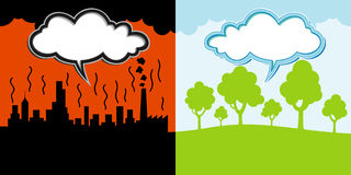 Polluted and clean environment backgrounds Stock Photography