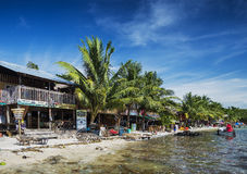 Polluted dirty beach with garbage rubbish in koh rong island cam Stock Images