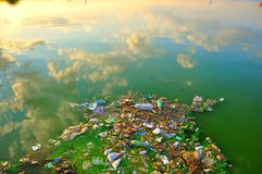 Polluted, dirty Black sea in Romania stock photography